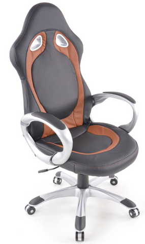 Office Chair synthetic leather black/brown with armrests