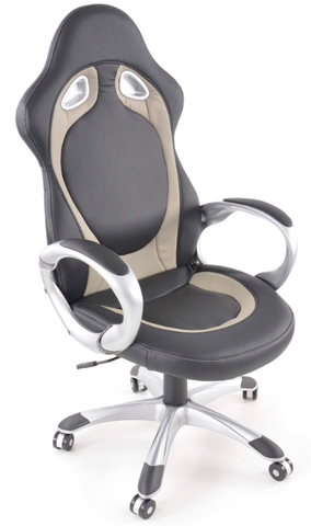 Office Chair synthetic leather black/grey with armrests