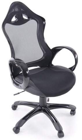 Office Chair synthetic leather/net black with armrests