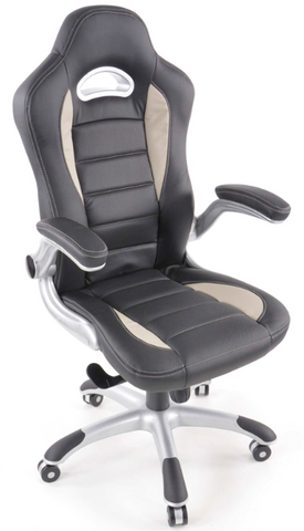 Office Chair synthetic leather black/grey with adjustable armrests