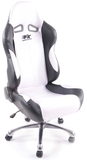 Office chair sports seat, black leather / white