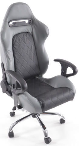 Office Chair Sport Seat with armrest synthetic leather black/grey