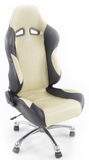 Office chair seat sports, leather black / beige