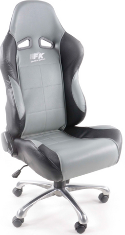 Office chair seat sports, art leather black / grey
