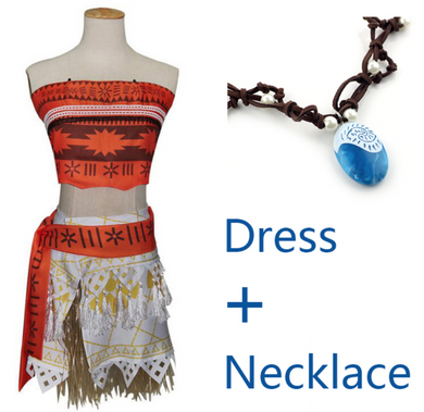 Princess Moana Costume with Necklace (Child and Adult Sizes)