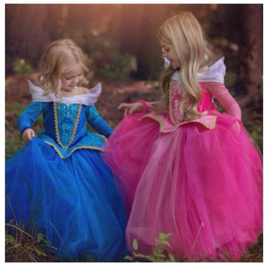 Intricate and Beautiful Sleeping Beauty (Princess Aurora) Girls Gowns - Pink or Blue Dress