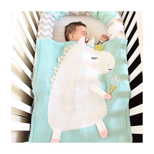 Unicorn Knitted Throw Blanket