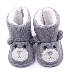 Infant Knit-Sole Crochet Bear Shoes for Pre-Walkers in Grey and Brown