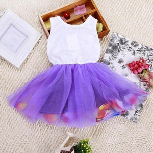 Sleeveless O-Neck Tutu Dress with Bowknot Belt (Multiple Color Options)