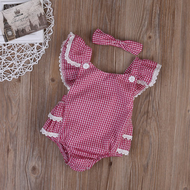 2pcs  Red Plaid Romper Jumpsuit + Headband Set