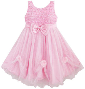 The Claire Pink Rose Dress for Girls, Size 2T-10