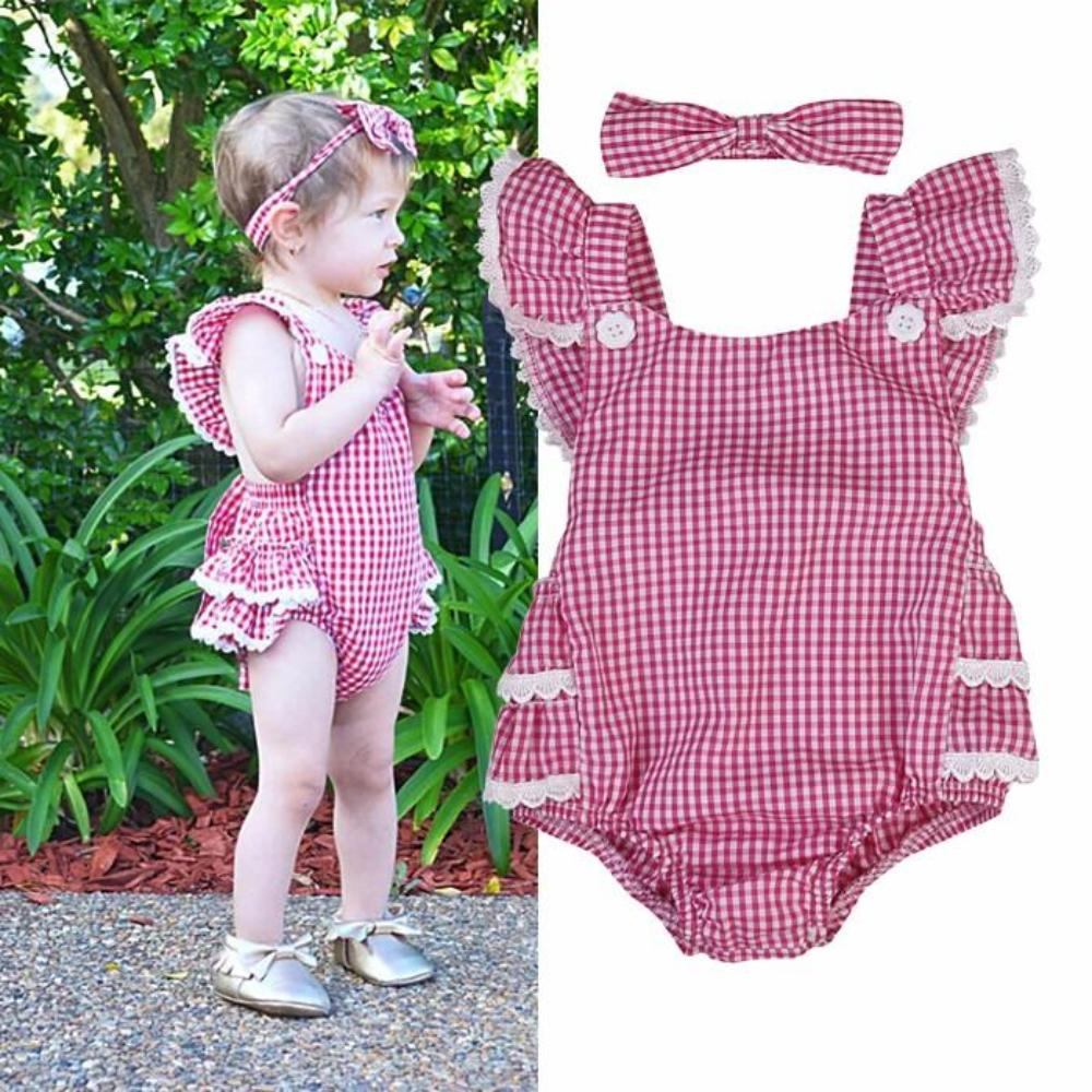 Gingham Red Romper + Bow Headband Set