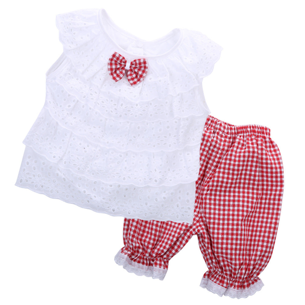Two-piece Gingham and Lace Outfit in Red or Black