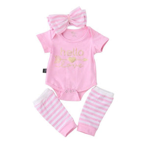 "Mina + Willie Baby Girl Romper + Headband + Leg Warmers ""Hello Love"" Set"