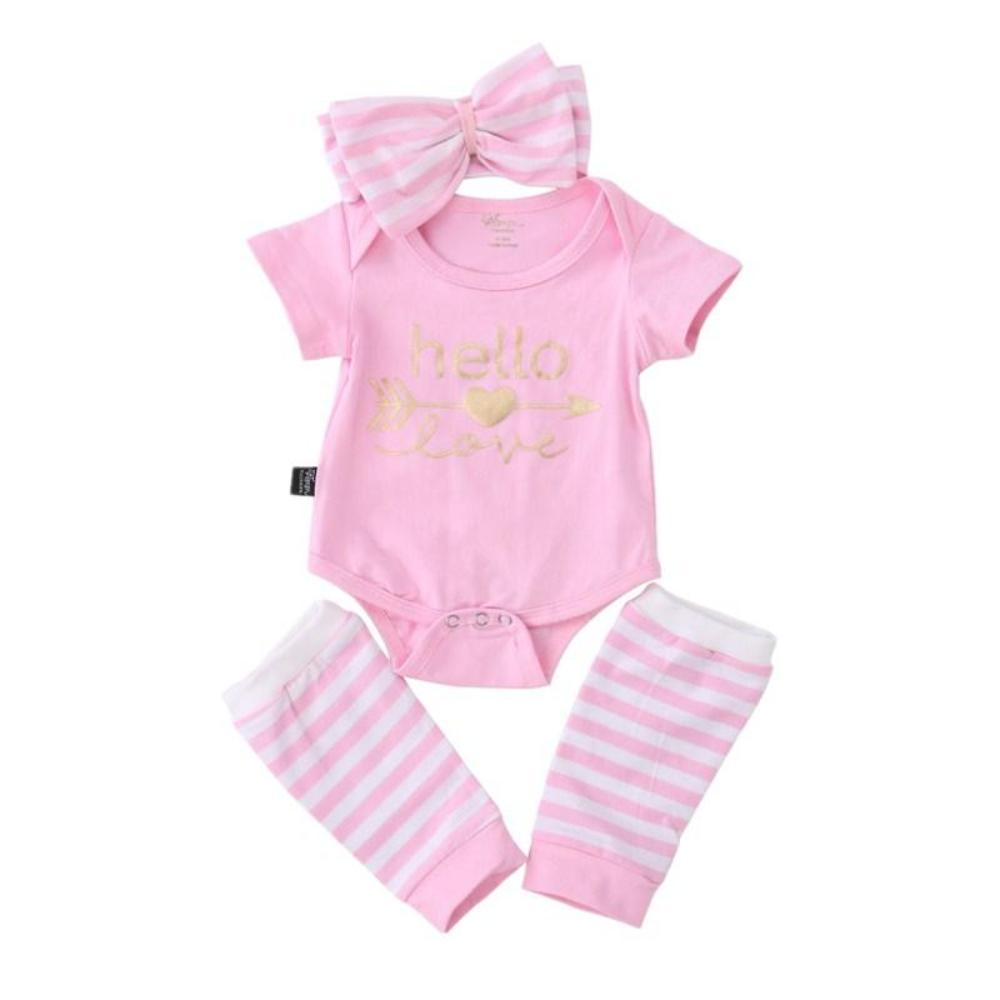 Mina + Willie Baby Girl Romper + Headband + Leg Warmers