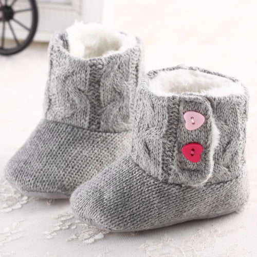 Baby Girl Newborn Toddler Soft Sole Knit Snow Boots Shoes / Slippers for Winter