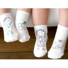 "Infant & Toddler Anti-slip Cotton Baby Socks - Playful ""Boy"" and ""Girl"" Designs"