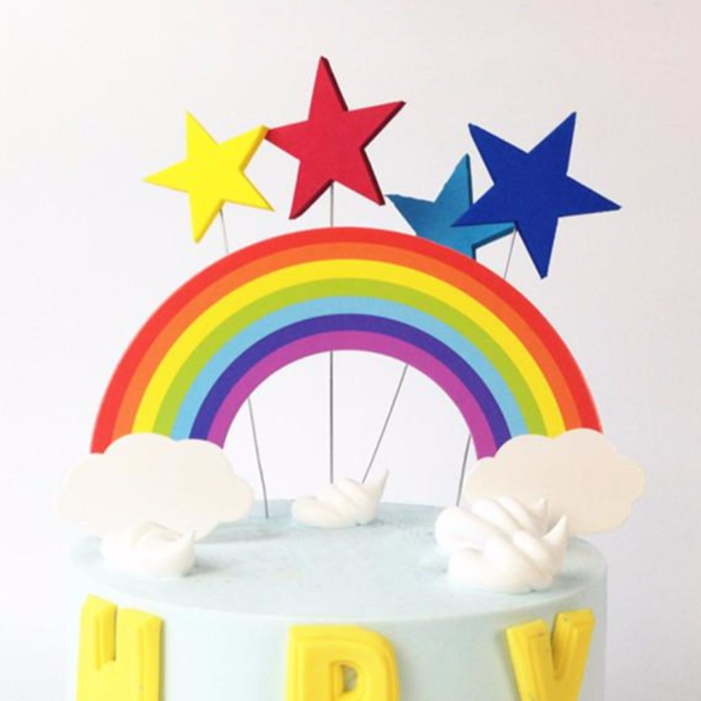 Colorful Rainbow and Clouds Cake Topper