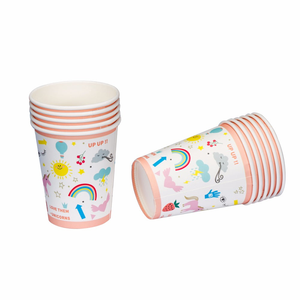 Riscawin Unicorn Paper Cups Disposable Birthday Tableware Decorations For Kids Girls Boys