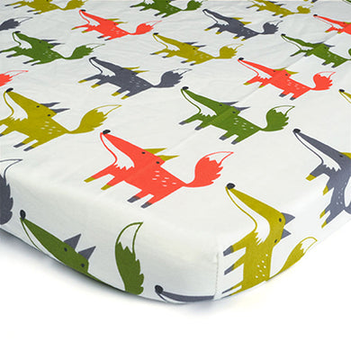 100% Organic Cotton Crib Sheet - Fox