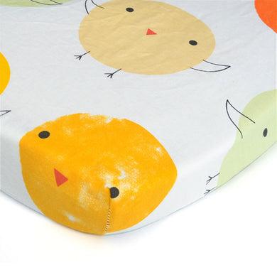100% Organic Cotton Crib Sheet - Chickadees
