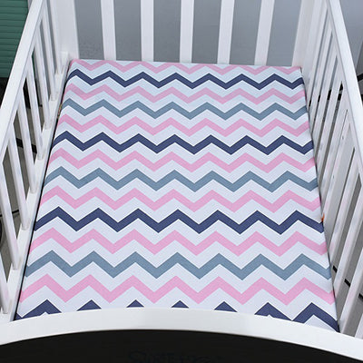 100% Organic Cotton Crib Sheet - Pink Chevron