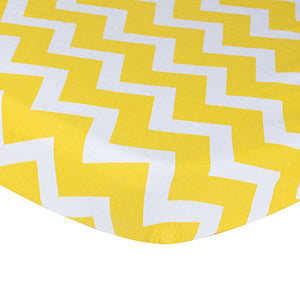 100% Organic Cotton Crib Sheet - Yellow Chevron
