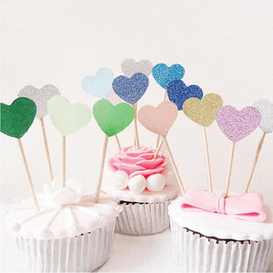 10-Piece Set of Heart Cake Toppers (Multiple Color Options)