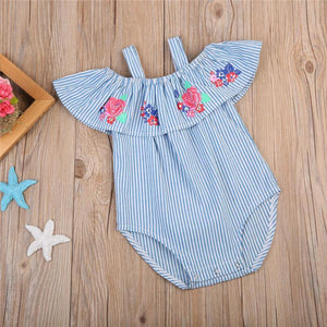 Floral Print Off-Shoulder Baby and Toddler Girls Jumpsuit