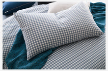 Classic Blue Gingham Plaid 100% Cotton Duvet Bedding Set (3 or 4 Piece Set)