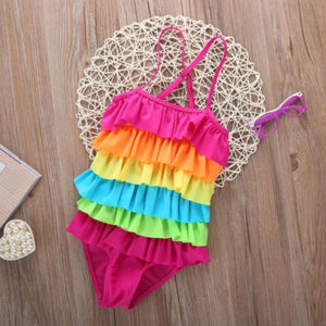 Girls One-Piece Rainbow Stripe Swim Suit with Adjustable Racerback Straps