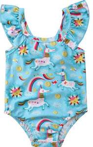 Girls' Unicorn Ruffle Sleeve Swimsuit