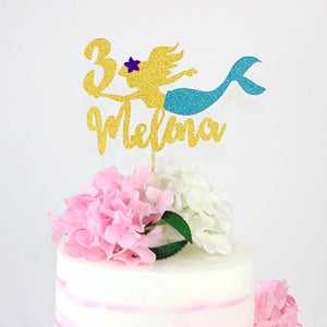 Personalized Glitter Mermaid Cake Topper