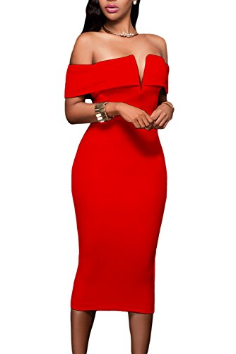 Alvaq Women's Sexy V Neck Off The Shoulder Evening Bodycon Club Midi Dress, Red, Small
