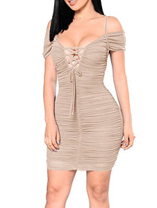 Sexy Off Shoulder Ruched Lace Up Bodycon Mini Club Dress