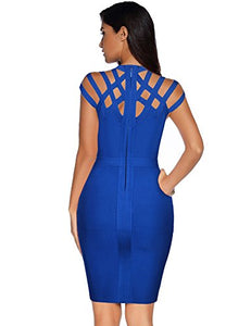 Meilun Womens Rayon Hight Neck Cut Out Bandage Bodycon Dress (M, Blue)