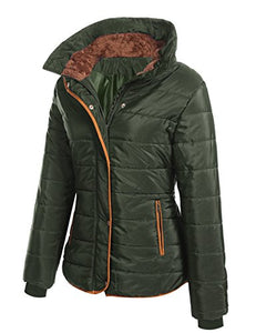 Misakia Women's Thickened Parka Coat With Fur Collar (Army Green XL)