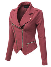 JJ Perfection Womens Long Sleeve Double Zip Up Moto Jacket Outerwear DARKROSE M