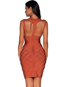 Burnt Brown Crossover Rayon Bodycon Bandage Dress