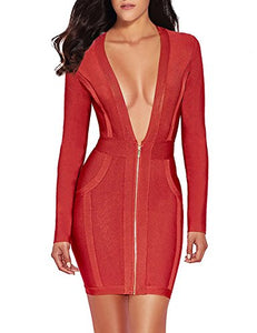Meilun Womens Deep V Front Bandage Bodycon Dress Long Sleeve Party Dress (S, Red)