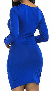 Zago Women's Long Sleeve Deep V-Neck Ruched Bodycon Evening Party Mini Dress Blue US XXL