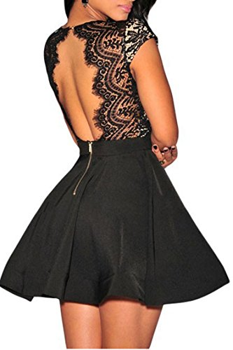 Zeagoo Women's V Neck Lace Open Back Nude Illusion Skater Cocktail Party Dress Black Small