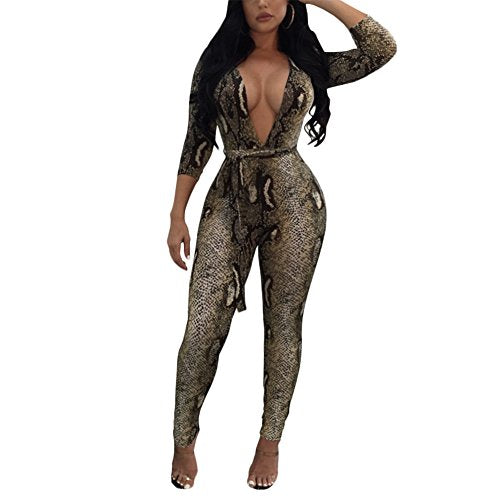 Women's Sexy Floral Deep V-Neck Long Sleeve Bodycon Long Pants Jumpsuit Rompers Snakeskin M