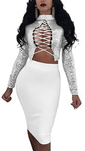 Rela Bota Women's Turtleneck Crop Top Skirt Set Lace up Bandage Bodycon Multi Wear Sequins 2 Piece Outfit Clubwear Small Silver