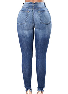 Sidefeel Women Rose Embroidered High Waist Ripped Denim Skinny Jeans Medium Blue 1