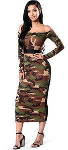 2 PCs Military Camo Camouflage Sheer Mesh Panel Off The Shoulder Cropped Top Midi Bodycon Dress
