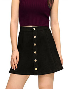 Allegra K Women's Button Closure Front Mid Rise Mini A-Line Skirt XS Black