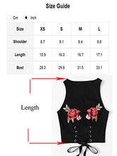 ROMWE Women's Casual Embroidered Floral Lace Up Ribbed Tank Top Black S