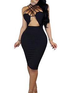 Sexy Lace Up Hollow Out Bodycon Midi Dress