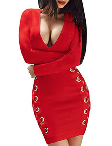 Lace Up Long Sleeve Bandage Dress